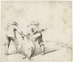 Twee jongens trekken een schaap voort, van achteren