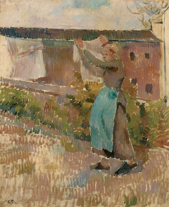 Woman Hanging Laundry (study)