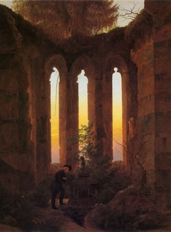 Huttens Grab / Ruine eines Kirchenchors im Abendlicht