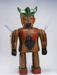 Untitled (wood robot statue)