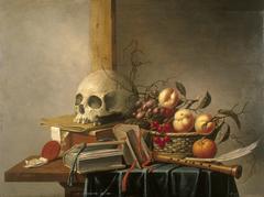 Vanitas stilleven met schedel, boeken en fruit