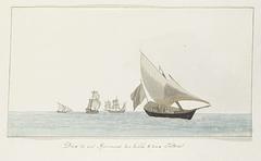 Vier schepen: twee spéronares van Scilla en twee tartanes
