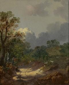 Waldlandschaft mit ruhendem Hirten an einem sonnigen Weg mit Schafen