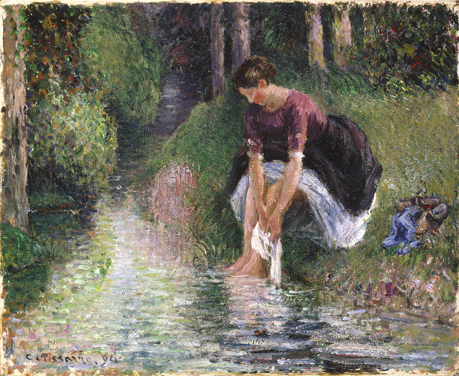 Woman Washing Her Feet in a Brook