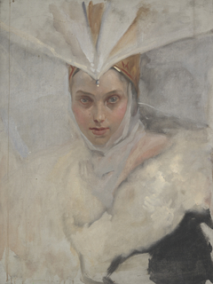 Woman with osprey headdress and white fur collar