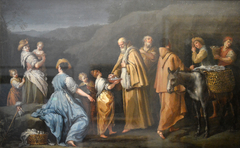 Young Girl Offering Eggs to a Group of Monks