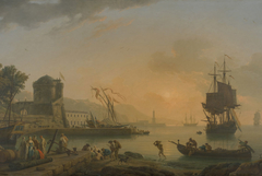 A Grand View of the Sea Shore Enriched with Buildings Shipping and Figures