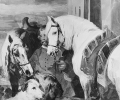 A Groom with Horses and Dogs