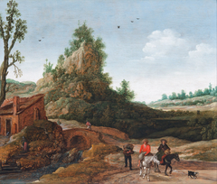 A landscape with travellers crossing a bridge before a small dwelling, horsemen in the foreground