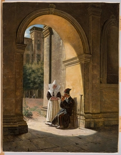 A Nun Cares for a Soldier in a Cloister
