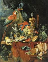 A Richly Laid Table with Parrots