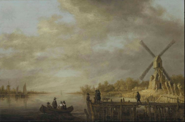 A river landscape with a windmill and gentlefolk in a rowing boat and on a jetty in the foreground
