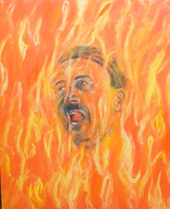 'Adolf burning in Hellfire', (2010). Oil on linen, 110 x 90 cm.