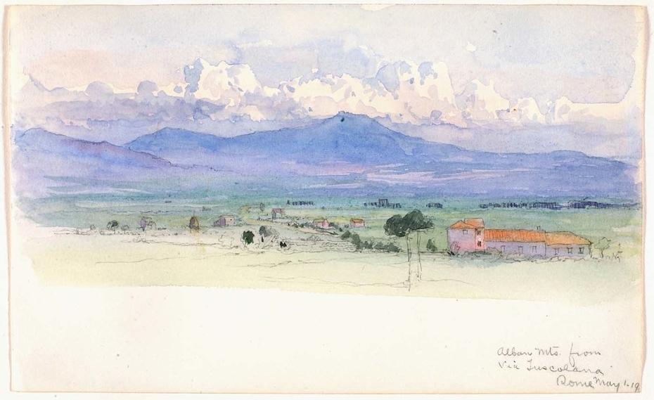 Alban Mountains from Via Tuscolana, Rome