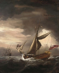 An English Royal yacht and other vessels in heavy seas
