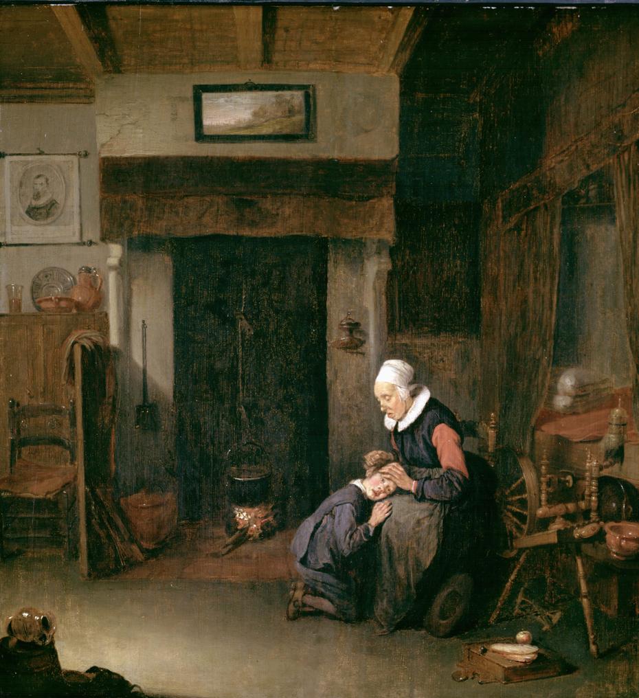 An Old Woman Delousing a Boy