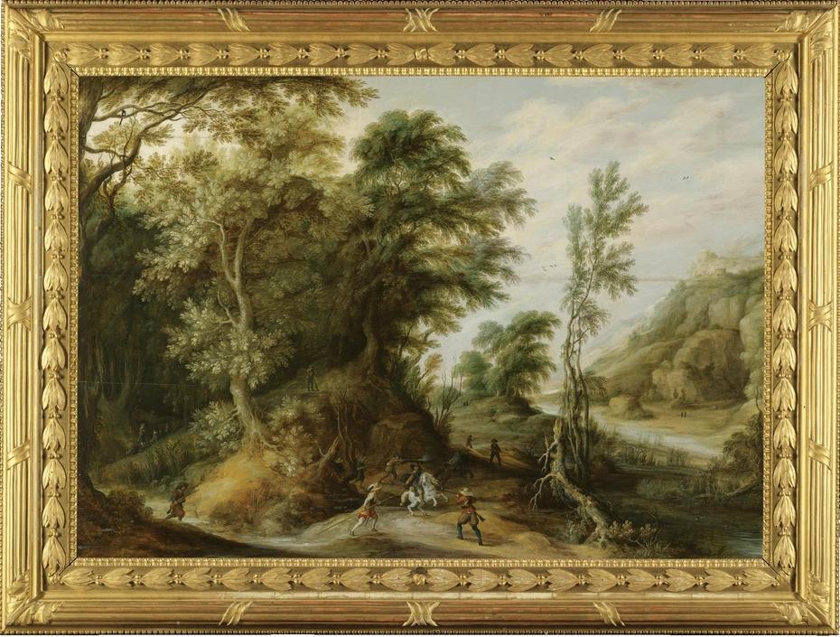 Battle Scene in a Forest Landscape