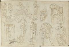 Beelden, een tekening en een fresco