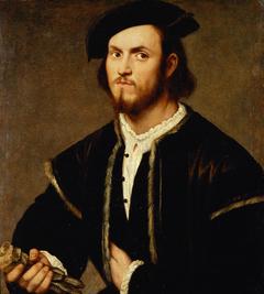 Bildnis eines jungen Mannes mit Barett und Handschuhen