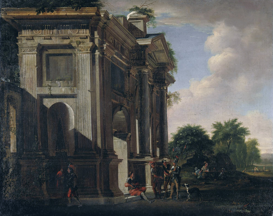 Caprice of a triumphal arch and soldiers