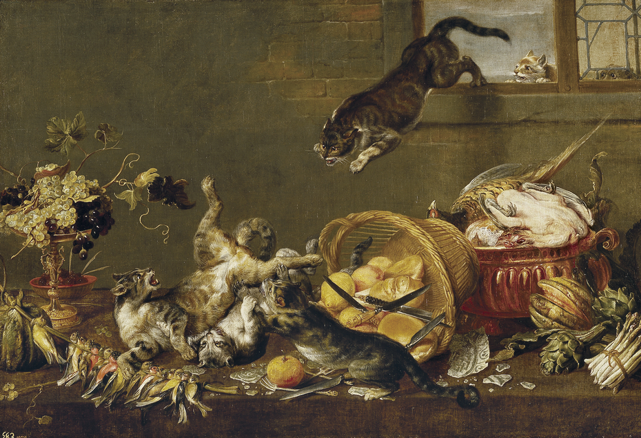 Cats Fighting in a Larder
