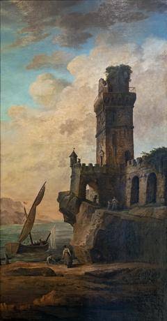 Château en ruines sur un rivage