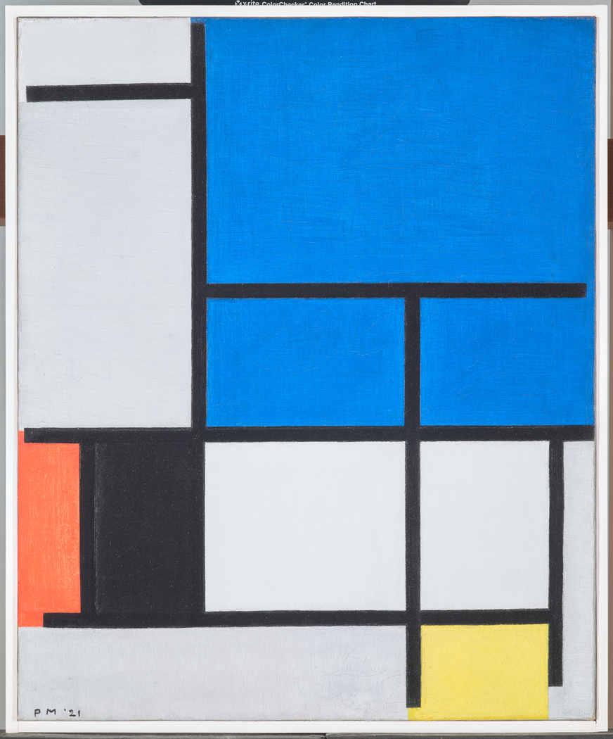 Composition with Large Blue Plane, Red, Black, Yellow, and Gray
