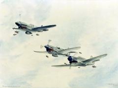 CURTISS P40 WARHAWK ET LEURS PILOTES - Curtiss P40 Warhawk and pilot fish -  by Pascal