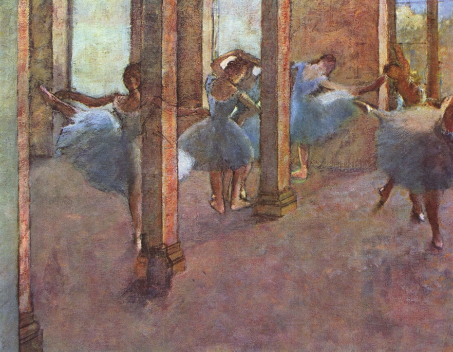 Dancers practicing in the Foyer
