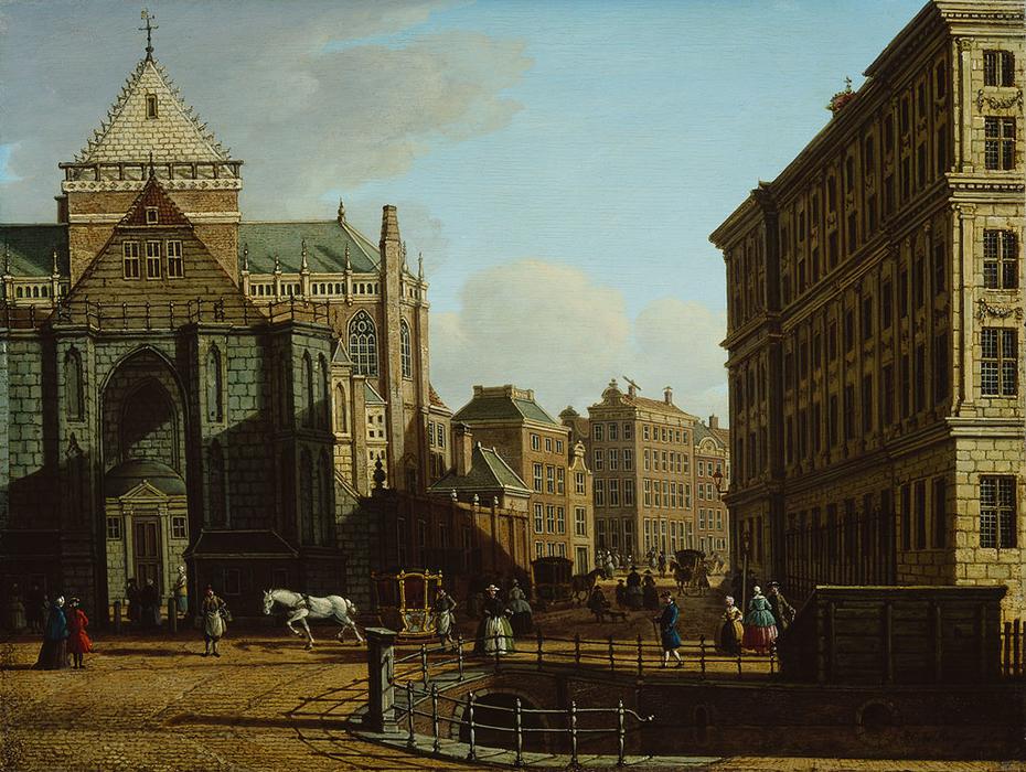 De Nieuwe Kerk en het Stadhuis gezien vanaf de Donkere Sluis