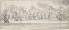 De Zeeslag voor Katwijk (middenblad), 1653