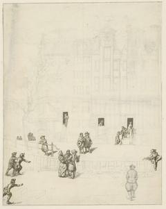 Figuren op het ijs van bij het uitgebrande huis op de Leidsegracht, 1684