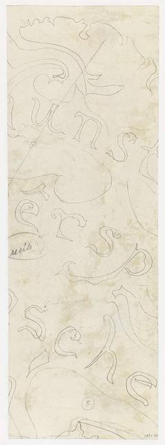 Fragment van een ontwerp met letters voor aardewerkdecoratie