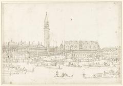 Gezicht op de Bibliotheek, Campanille en Dogenpaleis te Venetië, gezien vanaf het water