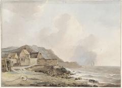 Gezicht op de kust bij Boulogne sur Mer