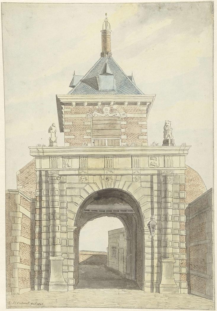 Gezicht op de oude Vriesche Poort te Alkmaar, van voren