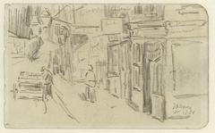Gezicht op een slingerende winkelstraat met een man met een kar