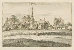 Gezicht op Viersel met de Sint-Willibrorduskerk