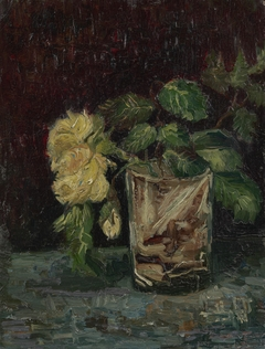 Glass with Yellow Roses