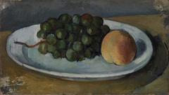 Grapes and Peach on a Plate (Grappe de raisin et pêche sur une assiette)
