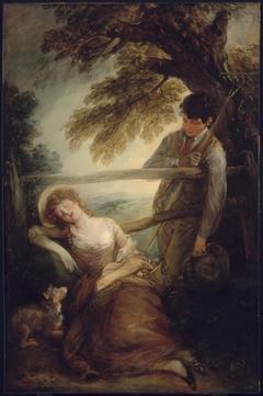 Haymaker and Sleeping Girl