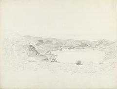 Het meer van Verni, het dorp Genzano en het dorp Verni