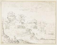 Heuvelachtig landschap met enkele boerderijen