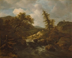 Hilly Landscape with a Broad Waterfall