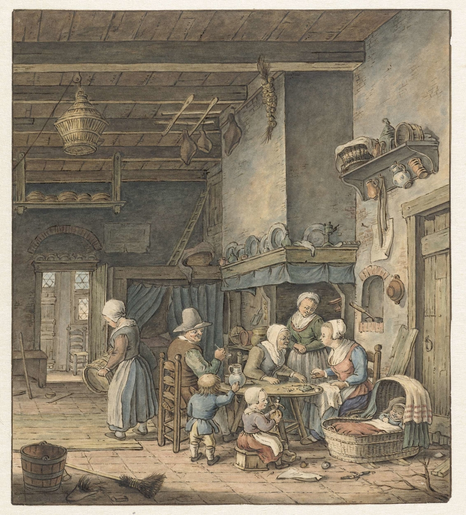 Interieur met boerenfamilie rond tafel