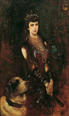 Kaiserin Elisabeth mit Bernhardinerhund