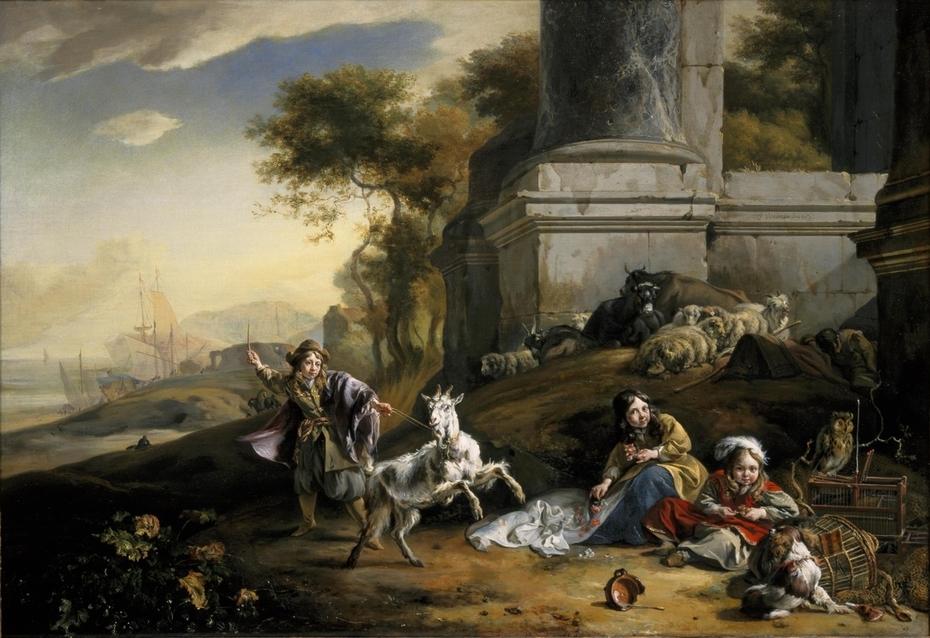 Kinderen met een geit in een Italiaans havenlandschap