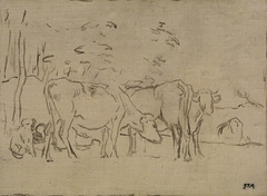 Landscape with Cows, Cowherd and Dog