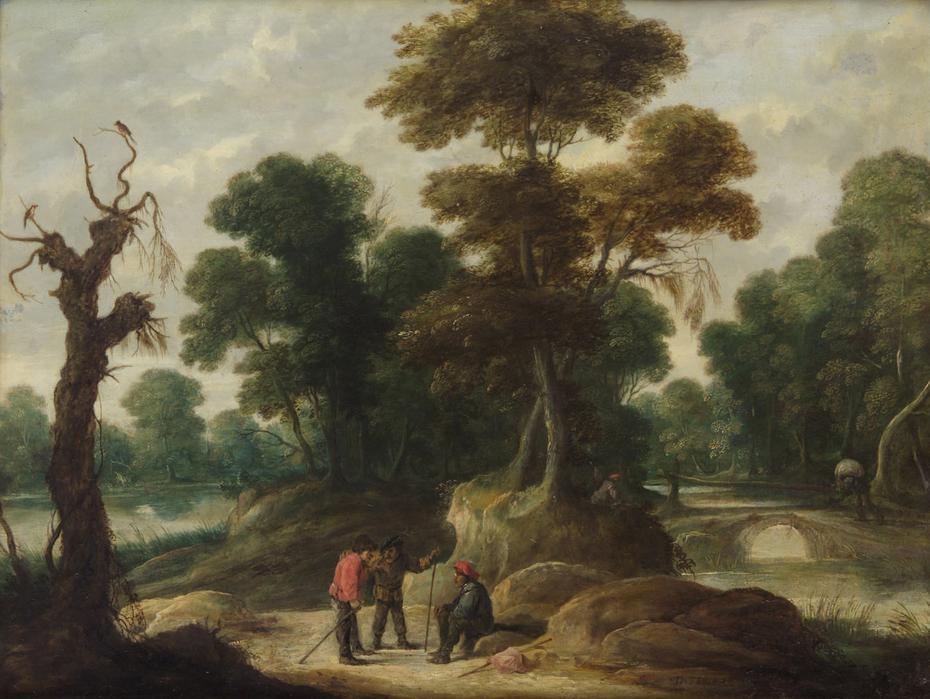 Landschaft mit drei Bauern