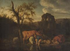 Landschaft mit Herde und Hirten
